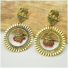 Zcarina Brass Oxidised Earrings for Girls