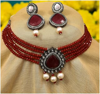 Zcarina Choker Necklace Set with Earring for Girl and Women