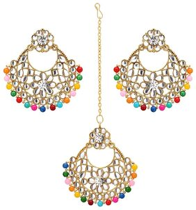 Zcarina Collection Traditional Gold Plated Multi-Colour Kundan Chandbali Earrings For Women