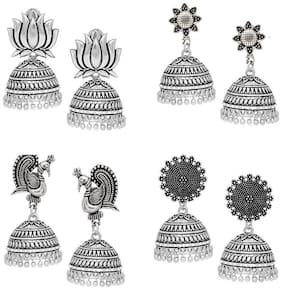 Zcarina Combo of 4 Antique Finish Light Weight Oxidized Jhumka/Jhumki Earrings