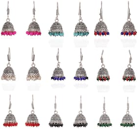 Zcarina Combo Of 9 Lightweight Multicolor Oxidized Silver Plated Jhumki Earrings For Women & Girls
