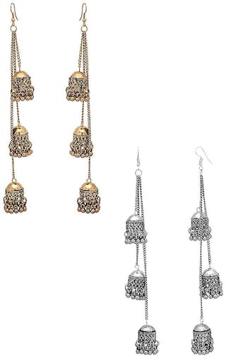 Zcarina Combo of Silver and Golden Jhumki Earrings for Girls