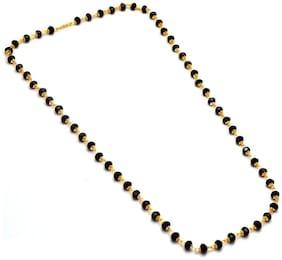 Zcarina Crystal Cap Gold Plated Nallapusalu Chain Black Beads 24 inch