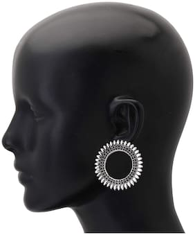 Zcarina Designer Afghani Gypsy Tribal Lightweight Oxidized Circular Ring Stud Earrings for Women and Girls