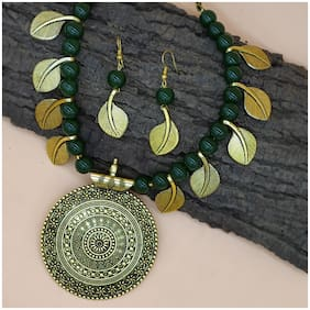 Zcarina Designer Antique Look Green Beads Loop Necklace Ethnic Jewelry