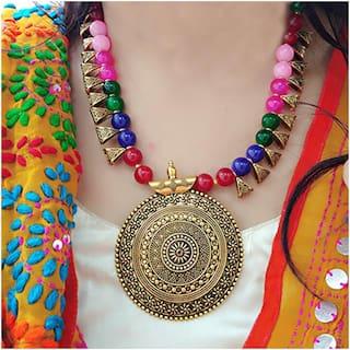 Zcarina Designer Antique Look Multicolor Beads Necklace Ethnic Jewelry