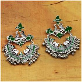 Zcarina Enamel Afghani Style Silver Oxidised Earrings