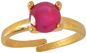 Zcarina Exquitely Crafted American Diamond with Ruby Color Stone Ring