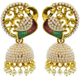 Zcarina Fashion Jewellery Gold Plated Pearl Jhumki Traditional Earrings For Women & Girls
