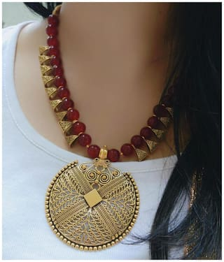 Zcarina Oxidised Rajasthani Pendant With Maroon Beads Necklace For Woman & Girls