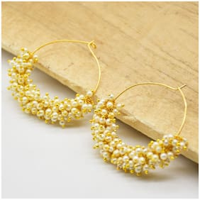 Zcarina Fashion Jewellery Gold Plated Pearl Hoop Traditional Earrings For Women & Girls