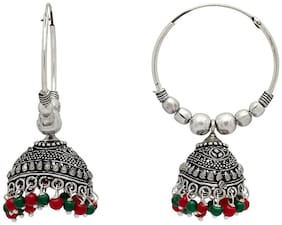 Zcarina German Silver Plated Earring with Multi Pearl Beads for Women and Girls