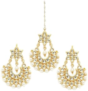 Zcarina Gold Plated Earring With Maang Tikka Jewelry For Women and Girls