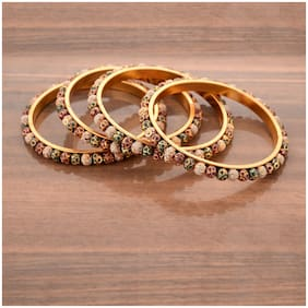 Zcarina Gold Plated Multi Color Bangle Set For Women