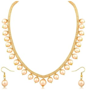 Zcarina Gold Plated Pearl Necklace with Earring Set For Women And Girls
