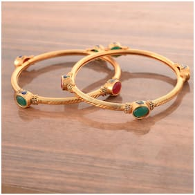Zcarina Gold Palted Multi Stone Bangle Set For Women