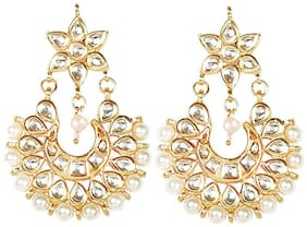 Zcarina Gold Plated Pearl Kundan Tipe Earring Set For Women And Girls