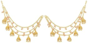 Zcarina Gold Plated Long Chain Jhumki Hair Chain Accessories for Women and Girls