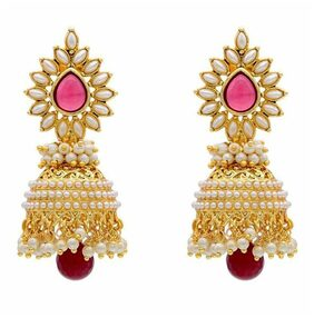 Zcarina Gold Plated Pearl beads Studded with red Color Stone Earring Set