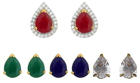 Zcarina Gold Plated American Diamond Changeable Earring Set for Women & Girls