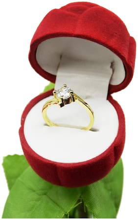 Zcarina Gold Plated Ring With Velvet Red Rose Jewellery Ring Box (Gift, Engagement) For Women & Girls