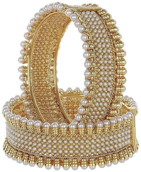 Zcarina Gold Plated Pearl Beeds Bangle Set for Woman and Girls