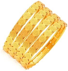 Zcarina Gold Plated Coin Bangle Set For Women Set of 4