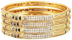 Zcarina Gold Plated Brass Bangles For Women set of 4
