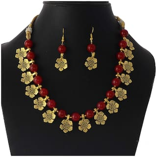 Zcarina Golden Flower Pearl Beads Necklace Jewelry Set