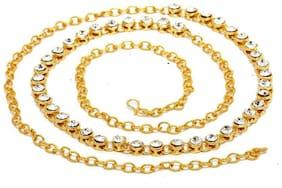 Zcarina Gold Plated Single Line Kamarband
