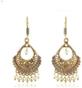 Zcarina Gold Brass Jhumki Earrings for Women & Girls