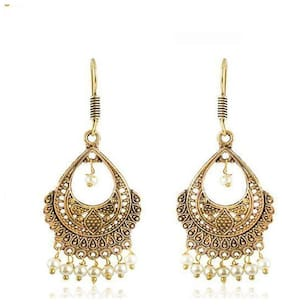 Zcarina Gold Brass Jhumki Earrings for Women & Girls