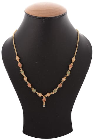 Zcarina Gold Plated Multi Color Chain For Women And Girls