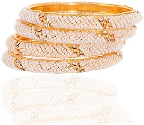 Zcarina Gold Plated Traditional Jewellery Pearl Beaded Bangles Set for Women And Girls