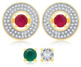 Zcarina Gold Plated American Diamond CZ Changeable Stud Earring for Girls & Women