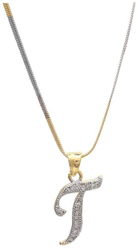 Zcarina Gold Plated 'T' Letter American Diamond Pendant Locket Alphabet For Men And Women With Chain