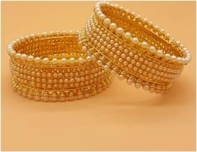 Zcarina Gold Plated Pearl Traditional Jadau Bangle Kada Set for Women and Girl