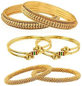 Zcarina Gold Plated Bangles Combo Of 3 Bangles Jewellery For Girls/Women