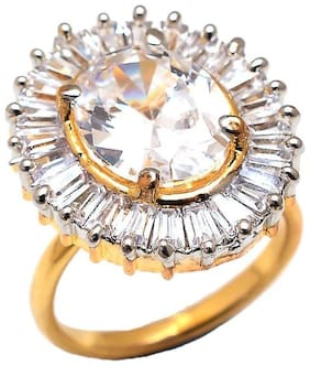 Zcarina Gold Plated Ethnic Ring For Women And Girls (adjustable)