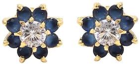 Zcarina Gold Plated Fancy Party Wear Stud Earrings for Girls & Women