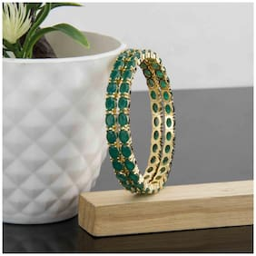 Zcarina Gold Plated Green Color Stone Bangle Set For Women And Girls