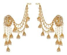 Zcarina Gold Plated Bahubali Multi Strand Pearl Kundan With Hair Chain Earring