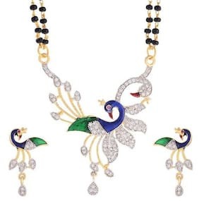 Zcarina Gold Plated Peacock Mangalsutra With 24 Double Line Chain & Earrings For Women