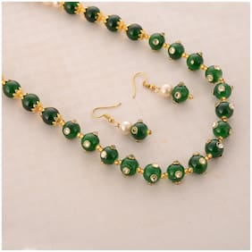 Zcarina Green Color Pearl Mala with Earring