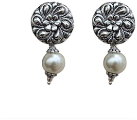 Zcarina GS Silver Oxidised White Pearl Drop Earring