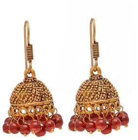 Zcarina Indian Traditional Oxidised Plated Jhumka Jhumki Earrings Jewelry