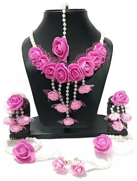 Zcarina Jewellery Set for Women Florel Necklace;Earrings;Bracelet & Maang Tika for Girls