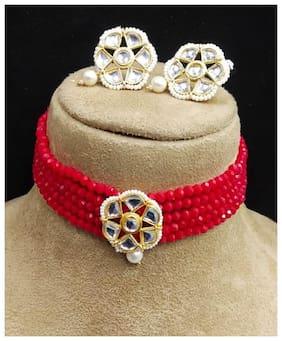 Brass Red;Gold Choker Necklace Set