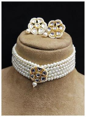 Brass White;Gold Choker Necklace Set