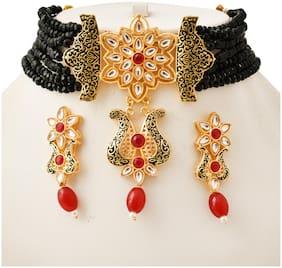 Brass Black Meenakari Necklace Set